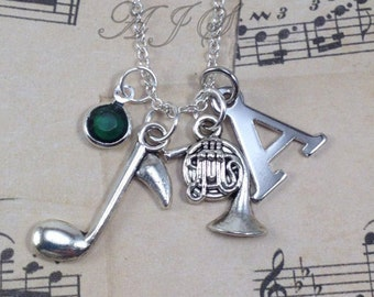 Silver French Horn Charm Necklace, Band Musicians Necklace, Music Jewelry, Gift for French Horn Gifts, Music gift with initial birthstone 38
