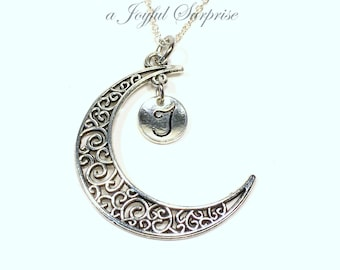 Filigree Moon Necklace, Half Moon Jewelry, Crescent Celestial Gift, Silver Monogram Initial Letter Personalized Sky long short chain
