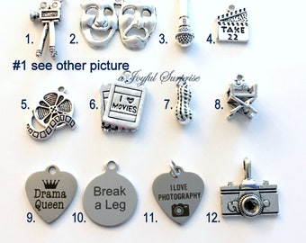 Movie Set Charm Add on to listings single Pendant Silver Reel Clapper Ticket Camera Directors Chair Drama Mask Peanut Queen Photography Film