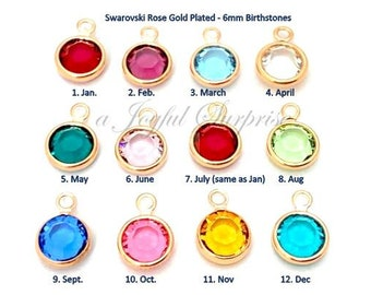 Rose Gold Plated Birthstone Charm,  Swarovski 6mm Crystal Channel, January February March April May June July August September December Add