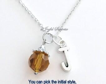 Citrine Birthstone Necklace November Birthday Present Dark Yellow Topaz Stone Gem Birthday Gift Jewelry Crystal Initial Christmas Bridesmaid