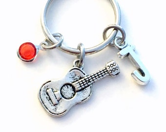 Guitarist Keychain, Guitar Key Chain, Music Keyring Band Musician Gift Personalized Instructor Teacher Purse Charm planner acoustic teen