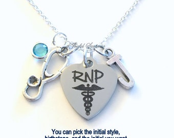 RNP Necklace Jewelry, Registered Nurse Practitioner Gift Nursing Stethoscope Charm Custom Initial Birthstone birthday Christmas present RPN