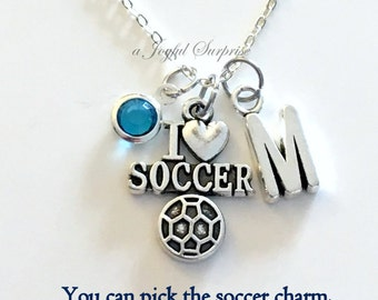 Soccer Necklace, I love Soccer Jewelry, Silver Charm Pendant Gift for Sport Coach present letter birthstone Custom personalized team Mom dad