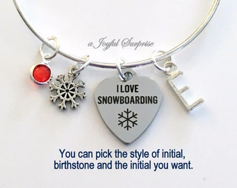 I love Snowboarding Jewelry Charm Bracelet Bangle Silver Heart Snow Boarder Pendant initial Birthstone Birthday Gift Christmas Present