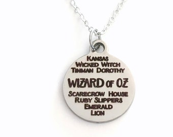 The Wizard of Oz Necklace, Musical Jewelry, Gift for Musical Silver charm present Tinman Kansas Lion Emerald City Scarecrow Collage Pendant