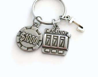Gambling Keychain, Gambler's Poker Chip Key Chain, Slot Machine Keyring, Las Vegas Key ring Guys Weekend Party Souvenir Stag Initial Her him