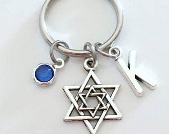 Star of David KeyChain, Magen David Keyring, Jewish Shield Key chain, Religious Jewelry charm Israel birthday present Hanukkah Gift for her