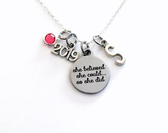 Charm Necklace, 2019 Graduation Jewelry, She Believed She could so she did Gift for Present Accomplishment silver her women woman Retirement