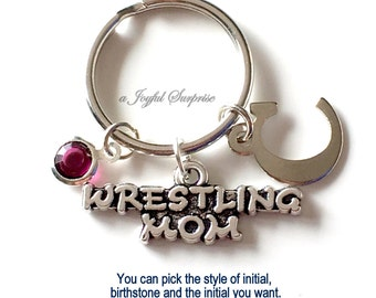 Wrestling Mom Key Chain, Silver Wrestler's Mom Keyring, Wrestle KeyChain, Gift For Wrestling Mom Jewelry Wrestling birthstone initial custom