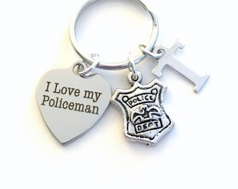 Gift for Policemen's Mom Key Chain, I love my Policeman KeyChain Wife Keyring Officer Shield Personalized Initial birthday present her women