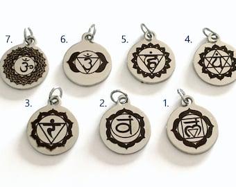 Chakra Charm Add on to any listings 1 single Pendant silver Kundalini Sahasrara Crown Throat Solar Plexus Anja Third Eye Heart Sacral Root