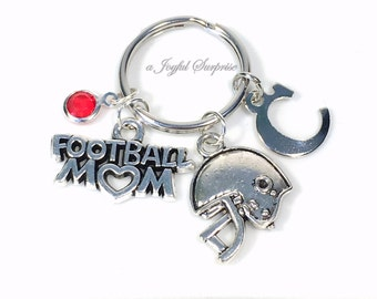 Football Mom Gift, Football KeyRing, Silver Mom Keychain Helmet Key Chain for Foot Ball Initial Birthstone Charm Pendant present her women
