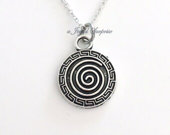Swirl Jewelry Spiral Necklace Intuition Circle Silver Pinwheel charm birthday Christmas Present pewter pendant custom man men boy girl woman