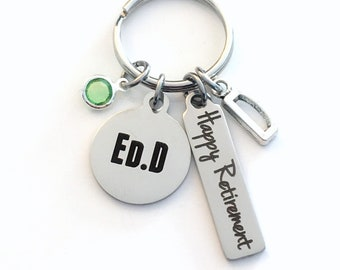 Ed.D Keychain, Gift for Educator Retirement Key Chain, Coworker Present, Mom, Dad, Keyring Jewelry Co Worker Boss Happy EDD Teacher