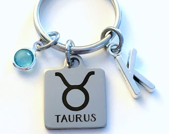 Taurus KeyChain, Zodiac Sign Key Chain, Gift for Birthday Present Keyring Birthstone Initial Personalized Custom Letter May April Key Ring
