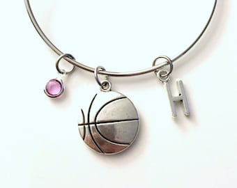 Basketball Bracelet, Player Jewelry Charm Bangle Team Mom Silver Ball Hoops initial Gift for Teenage Daughter Teen Girl birthstone Sport