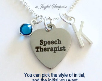 Speech Therapist Gift Jewelry Speech Language Pathologist Necklace Personalized for Therapy Student SLP Initial birthstone letter Graduation