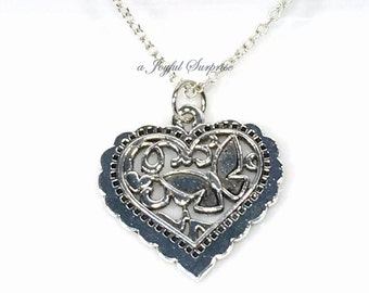 Pewter Heart Necklace, Elegant Heart, Silver Butterfly Charm Necklace Heart Pendant Secret Sister, Bridesmaid Gift Jewelry girlfriend gift