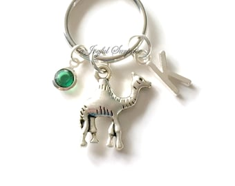 Camel KeyChain, Camel Back Keyring Desert Animal Key Chain, Personalized Initial Birthstone birthday present Christmas Gift Fighting Camels