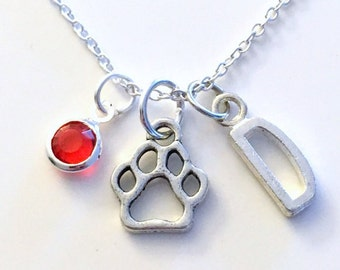 Dog Paw Necklace, Gift for Little Boy Bear Print Jewelry Doggy Pet Animal Silver charm Initial Birthstone present Short Long Chain Sterling
