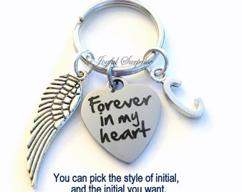 Forever in my heart Key Chain Memorial Keyring Loss of Grandma Keychain Son Sympathy Jewelry Personalized Initial Birthstone Mom Dad Infant