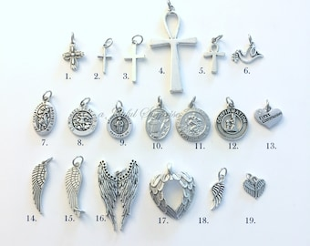 Religious Charm, Add on or separate single Cross, Medallion, Wing Pendant for Necklace, Key Chain, Bracelet Keychain Silver Ankh Symbol Dove