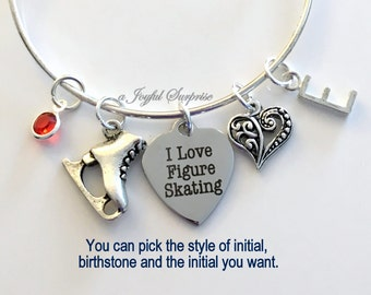 I love Figure Skating Skate Jewelry Charm Bracelet Bangle Silver Heart Skater Pendant initial Birthstone Birthday Gift Christmas Present
