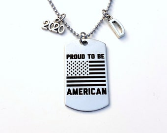 """Deployment Gift for Boyfriend Necklace 20"""" / 2020 Proud to be American Jewelry / USA Flag Dog Tag Ball Bead Chain / US Homecoming Present"""