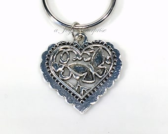 Heart Keyring, Filigree Butterfly Keychain, Teenage Girl key chain Charm Gift, Sister birthday present gift for special aunt silver under 10