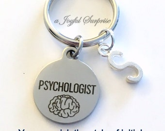 Psychologist KeyChain, Psych Student Key Chain, Gift for Psychology Grad Key Chain Doctor Keyring Graduation initial letter custom men women