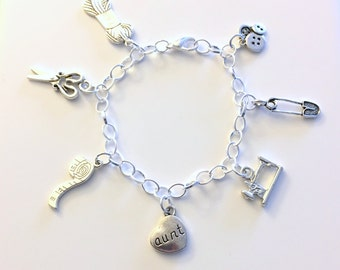 Seamstress Charm Bracelet, Grandmother Gift for Grandma Sewing Jewelry Chain Link Silver Mom Sister Daughter Aunt Christmas Present birthday