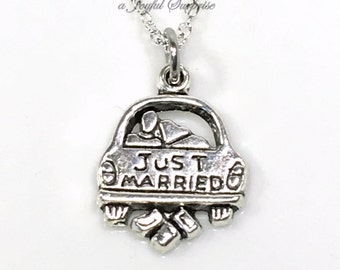 Newly Wed Jewelry, Just Married Necklace, Wedding Gift, Honeymoon Jewelry, Silver Just Married Car Charm, Antique Silver Sterling Silver men