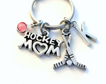 Hockey Mom Keychain, Gift for Mother Keyring, Silver Key Chain Birthday Christmas Present Sticks Initial Birthstone Team Color letter