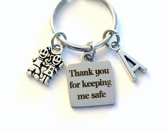 Gift for Crossing Guard Keychain, Thank you for keeping me safe School Safety Officer Key Chain, Security Keyring, Men Bus Driver Body dad