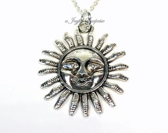 Silver Sun Necklace / Sunshine Jewelry / Gift for Best Friend