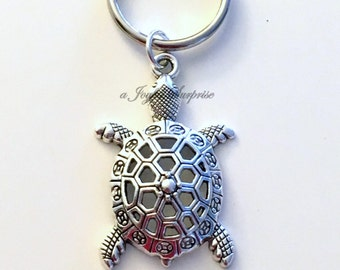 Turtle Key Chain Sea Turtle Keyring Tortoise Keychain Silver Jewelry Purse Charm Planner Animal Gift birthday present Christmas Mascot Large