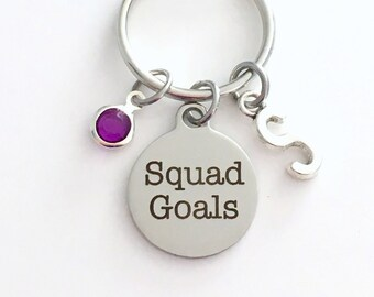 Squad Goals KeyChain Best Friends Keyring BFF Key chain Jewelry Gift Birthday Present Teenage Girl Teen Team Teammate Teenager Women charm