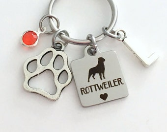 Rottweiler KeyChain Breeder Key Chain Gift for Dog Mom Keyring Doggie Puppy Jewelry charm Silver Initial Birthstone present Man woman Teen