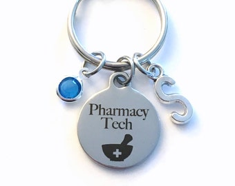 Gift for Pharmacy Tech Keychain, Rx Pharmacist Key Chain, Women Men Retire Key Chain Keyring him her Personalized Drug Store Technician from