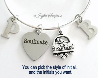 SoulMate Bracelet, Just Married Charm Bracelet, Newly Wed Jewelry, Silver Soul mate Gift wife fiance initial birthstone letter Personalized