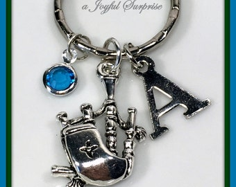 Bagpipe Keychain,  Personalized Gift for Bagpipe Player Gift, Bagpipe Teacher Gift, Highland Music Keyring, Irish Key Chain, Celtic Music