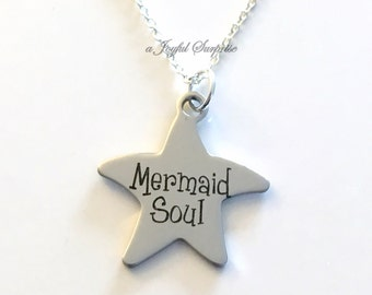 Mermaid Soul Jewelry, Gift for Teenage Girl Necklace, Marine Biologist Stainless Steel Star Beach Wedding, Swimmer saying Charm, Pendant 45