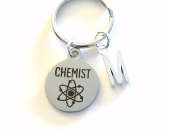 Chemist Key Chain, Chemistry Student Keychain, Gift for Science Student Graduation Gift Keyring initial letter custom personalized men women