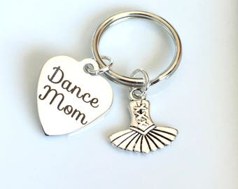 Dancer's Mom Keychain, Dancemom, Dancing Keyring, Dance Key Chain, Gift for Ballet Mom Presents Planner Purse Charm Zipper Pull  Birthday