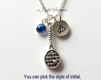 Racket Necklace, Squash Player's Jewelry Silver Tennis Charm  Racquetball Personalized Initial Birthstone birthday Gift Christmas Present