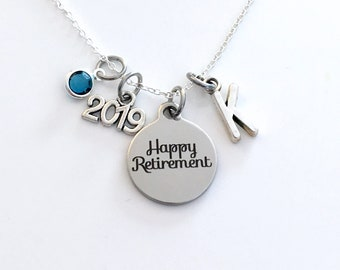 Retirement Jewelry, Women's Necklace, 2019 Gift for Best Friend Present silver her women woman men man Co-worker Co worker Coworker him 2020