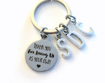 Step Dad or Mom Gift, Multiple Letters, Thank you for loving us as your own KeyChain for Guardian Keyring Foster Parents Key chain letter me