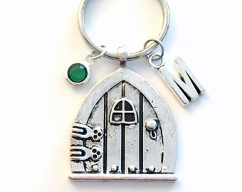 Door Keychain, Fairytale Door Key Chain, Hobbit Wish Fairy tale Door Keyring, Alice in Wonderland Jewelry initial Birthstone Wood Charm her