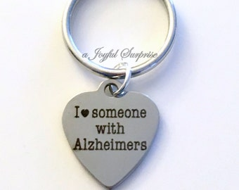 I love someone with Alzheimer's KeyChain Alzheimer Awareness Key chain Keyring birthday present Christmas Gift planner charm purse charm